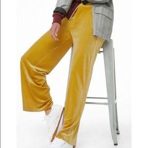 Forever 21 citron mustard velvet wide leg pants